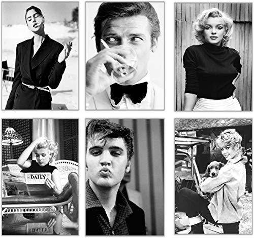 ELAFI® Premium Poster 6er Set | Bilder schwarz weiß | Deko Wohnzimmer Vintage | Berühmte Schauspieler und Sänger | Schöne Bilder Wohnzimmer groß (Famous Actors)