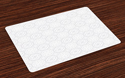 Ambesonne Celtic Place Mats Set of 4, Retro Tribal Celtic Knots Eternity Forms Pattern Boho Ireland Irish Floral Artwork, Washable Fabric Placemats for Dining Table, Standard Size, Grey