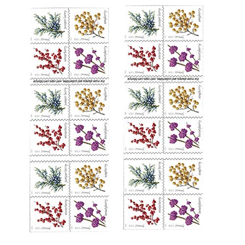 Winter Berries 2 Books of 20 First Class Forever US Postage Stamps Wedding Celebrate Engagement (40 Stamps)