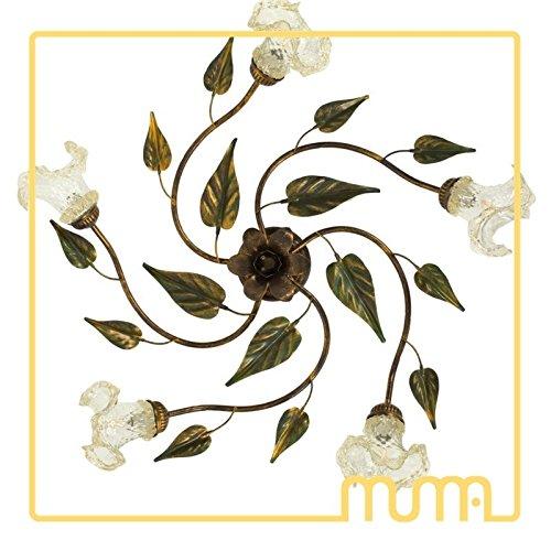Plafonnier en verre et métal, style Country, shabby, Verre de Murano, occasion
