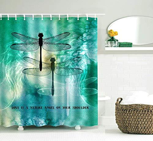 KINBEDY Dragonfly Shower Curtains 100% Waterproof Modern Bath Decor Fabric Curtain Set for Bathroom with Hooks (Dragonflies, 180x180cm)