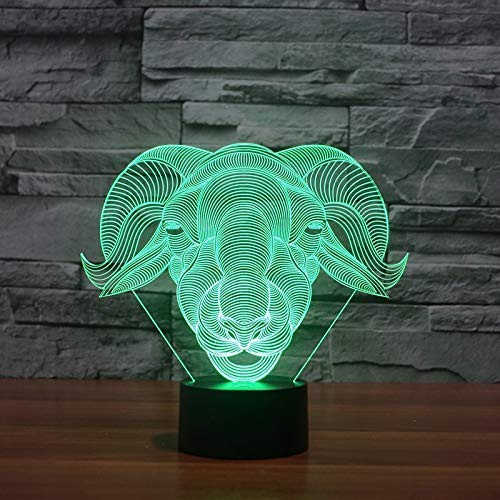 Neuheit Lampe, Angeführt Kreative Sheep Modellierung Geschenk Wohnkultur Vision-Ziege Schreibtischlampe USB 7 Bunte ändern Baby-Schlaf-Nachtlicht-Touch- (Color : Touch)