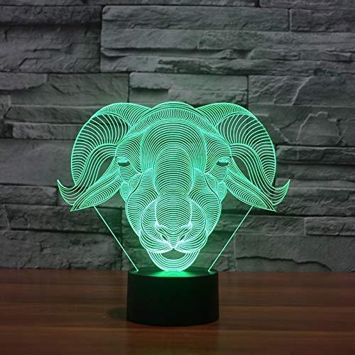 Home Decor Slaap Led 3D Creatieve Gift Slaapkamer Schapen Ram Modelling 7 Kleur Verwisselbare Visie Bureau Lamp USB Baby Geit Nachtlampjes