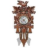 GPFDM Handcrafted Wood Cuckoo Clock,Black Forest Quartz Wall Clock,Pendulum Movable Bird,Multi Scenario Application