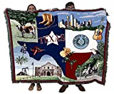 State of Texas - Cotton Woven Blanket Throw - Made in The USA (72x54)