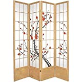 Oriental Furniture 7 ft. Tall Cherry Blossom Shoji Screen - Natural - 4 Panels