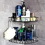 Laimew Cesta de ducha con ganchos sin taladrar estante de bao organizador...