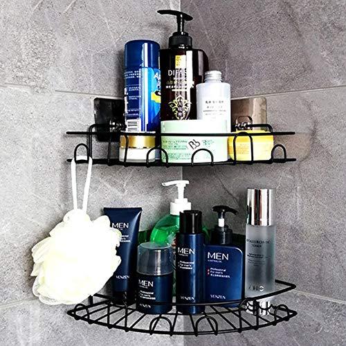 Laimew Cesta de ducha con ganchos sin taladrar estante de baño organizador cesta de cocina, paquete de 2 (Negro)