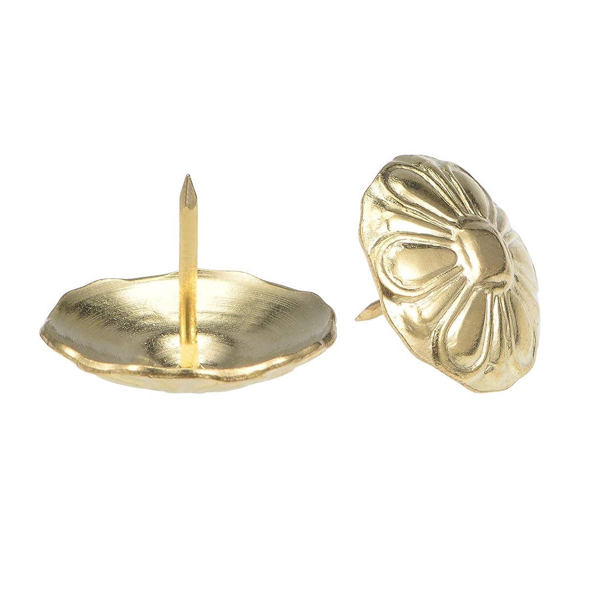 差別化する石膏天気uxcell ネイルタック サムプッシュピン 室内装飾品 24mmヘッド直径 円形 ゴールドトーン 10 個