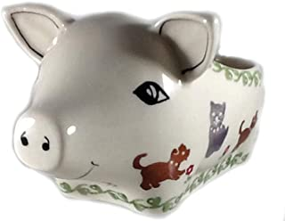 Polish Pottery Salt Pig Bowl in DK0T Dogs and Cats