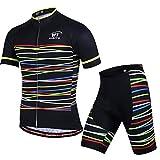 X-Labor - Conjunto de maillot de ciclismo para hombre, camiseta de manga corta y pantalón de ciclismo con acolchado 3D para el asiento, Hombre, color franjas negras, tamaño EU 3XL (Tag:4XL)