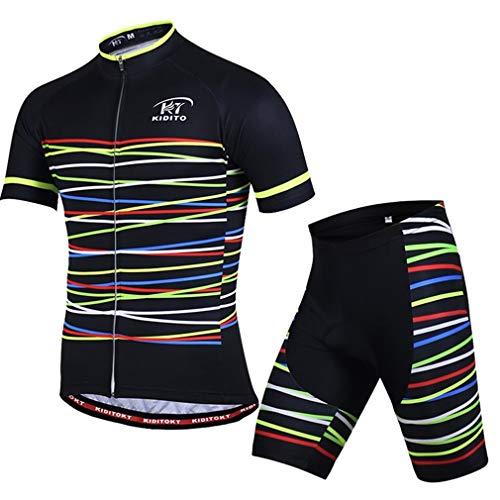 X-Labor - Maillot de ciclismo para hombre, talla grande, camiseta de manga corta + pantalones de ciclismo con acolchado en 3D, ropa de ciclismo, rayas negras, 5XL