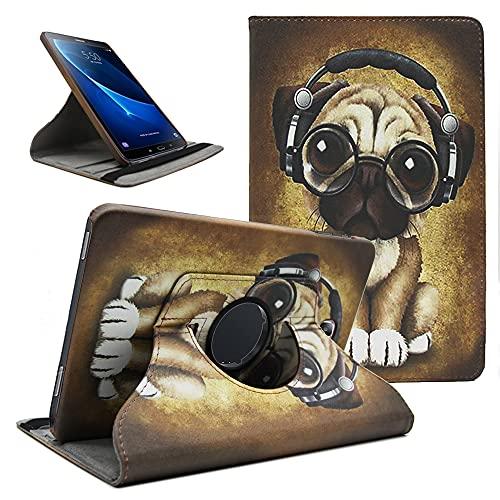 Amlope Funda para Samsung Galaxy Tab A 10.1 T580/T585, Giratoria 360 Grados Cubierta de Cuero Carcasa Protectora Case con Stand Función para Samsung Galaxy Tab A6 10.1' Tablet, Perro