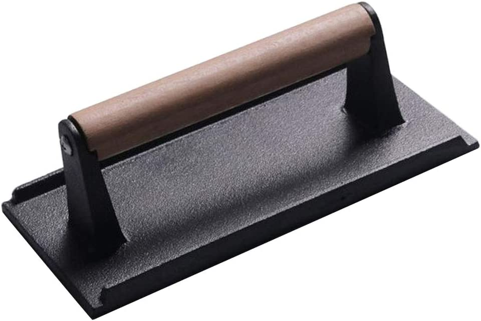 Bacon Press Steak Weight excellence Cast Iron Handle for with Sale special price Gril Wooden