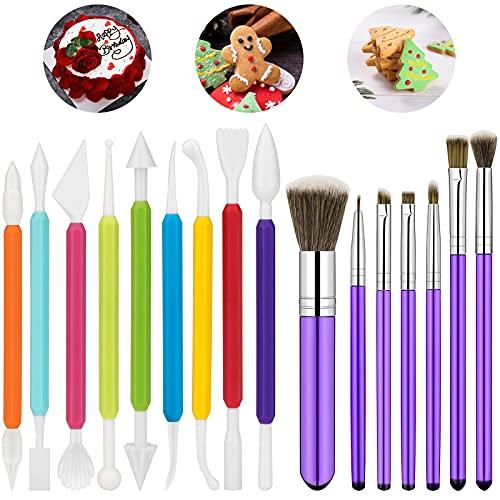 16 piezas de herramientas de decoración de pasteles, 7 pinceles para decoración de tartas y 9 piezas de herramientas de modelado de fondant para decoración de tartas, galletas,...