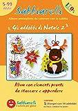 Sabbiarelli Sand-it for Fun - Album Gli Addobbi di Natale 2: 5 Fogli Adesivi da Colorare con la Sabbia (Non Inclusa), Adatto per Bambini Anni 5+