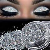 Exteren Sparkly Makeup Glitter Loose Powder Eyeshadow Silver Eye Shadow Pigment (A)