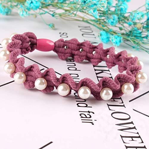 TSEINCE Nouveaux cadies Couleur Cravates de Perles Perles Larges tricotés élastiques Bandes de Cheveux Filles Accessoire de Cheveux Femmes Perles féminines Chic Bande de Cheveux en caoutchou