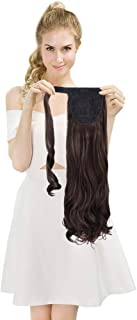 SEIKEA Wrap Around Clip on Ponytail Extension Hairpiece for Women Curly Hair 20 Inch - Dark Chocolate Brown