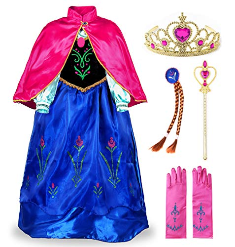 JerrisApparel Princess Snow Party Dress Queen Costume Cosplay Dress Up (4-5, Blue with Accessories)