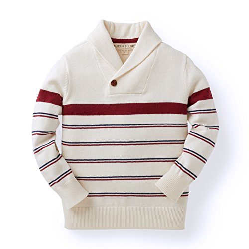 Hope & Henry Boys' Tan and Red Striped Sweater with Shawl Collar