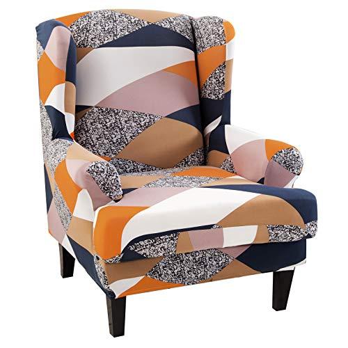 papasgix Ohrensessel Schonbezug Elastische Sesselbezug Sesselüberwurf Stretch Schutzhülle Mode Muster Sofabezug Sessel Husse für Ohrensessel(Orange Geometrie)