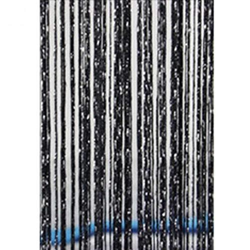 HPPL200x100cm Moderne Leuke Flash-lijn Glanzende Kwastje String Deurgordijn Venster Room Divider Gordijn Volant Woondecoratie, zwart
