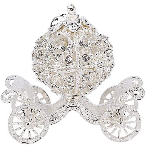 Duokon Caja de baratija de Carro de Calabaza de Cristal con Diamantes de imitación,  Figura Coleccionable Decorada,  almacenar el Anillo,  joyero,  Manualidades de Metal,  Regalo,  decoración de