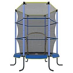 Ultrasport-lasten trampoliini Jumper 140 cm, hauskaa ja kunto-trampoliinia lapsille yli 3-vuosia, käytettäväksi huoneen trampoliinina, joka on erityisesti suojattu verkko- ja reunakannella, punainen / sininen
