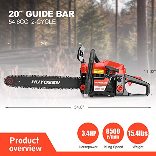 HUYOSEN 54.6CC 2-Stroke Gas Powered Chainsaw, 20-Inch Chainsaw, Cordless Handheld Gasoline Power Chain Saws for Cutting Trees, Wood, Garden and Farm (5520E Black Red)