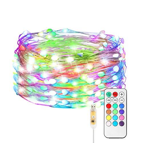 Maxsure USB LED Lichterkette Bunt, 5M 50LED Kupferdraht mit Fernbedienung, 8 Modi und 12 Farben, Fairy Lights für Partys, Weihnachten, Halloween, Balkon, Garten, Wohnzimmer, IP44 Wasserdicht