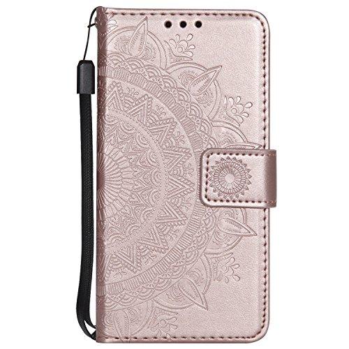 Lomogo Coque iPhone 5C, Housse en Cuir Portefeuille avec Porte Carte Fermeture par Rabat Aimanté Anti Choc Etui de Protection pour Apple iPhone5C - LOHHA11314 Or Rose