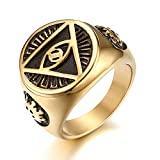JewelryWe Schmuck Retro Herren-Ring Edelstahl Illuminati Auge der Vorsehung All-Seeing Eye The Eye of Providence Pyramide Ring Siegelring Band Bandring mit Gravur Gold Größe 65