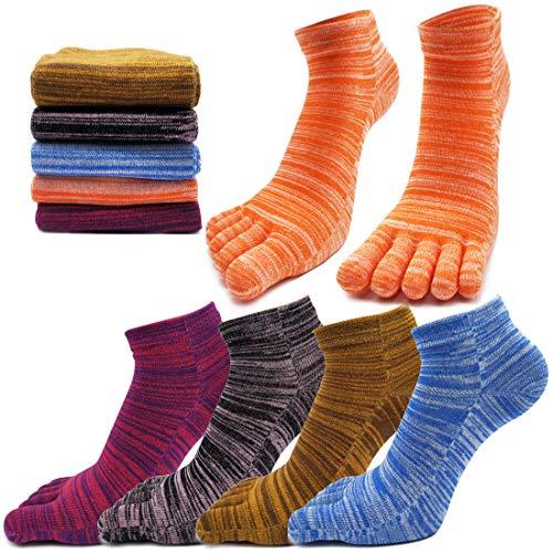 MOAMUN 5 Pares De Primavera Cinco Dedos Dedo Del Pie Calcetines Para Hombres Mujeres Algodón, Damas Calcetines De Tobillo De Corte Bajo Suaves Y Transpirables (Mujeres)