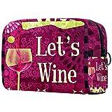 Große Make-up-Tasche Reißverschlusstasche Travel Cosmetic Organizer für Frauen und Mädchen - Wein EIN bisschen Trauben Red Country Wine Drinks