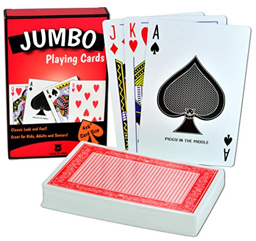Piggy in the Middle - Jumbo Playing Cards - Card Deck measures 4x6 Inch - Giant Playing Cards are Great for Kids, Adults and Seniors with low vision