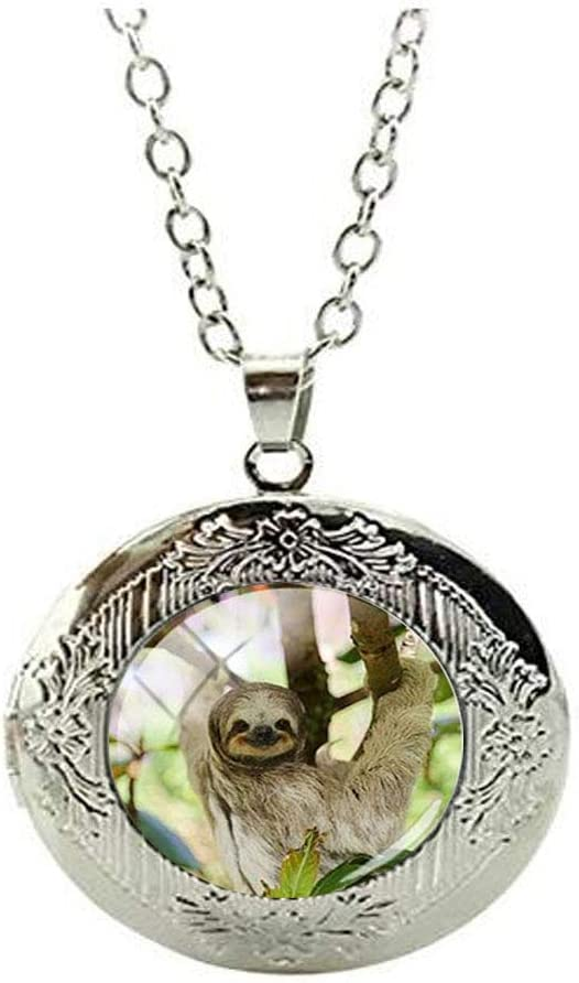 Beautiful Animal Sloths Glass Locket Necklace Art Photo Charm Jewelry Birthday Festival Gift Beautiful Gift