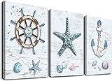 Ocean Decor Beach Decorations for Home Starfish Decor Nautical Bathroom Decor Beach Wall Art Bedroom Living Room Beach Wall Decor Coastal Decor Rudder Anchor Starfish Decor Canvas Wall Art 12
