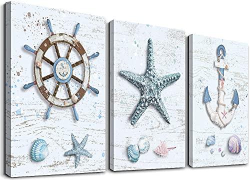 Ocean Decor Beach Decorations for Home Starfish Decor Nautical Bathroom Decor Beach Wall Art Bedroom Living Room Beach Wall Decor Coastal Decor Rudder Anchor Starfish Decor Canvas Wall Art 12'X16'X3