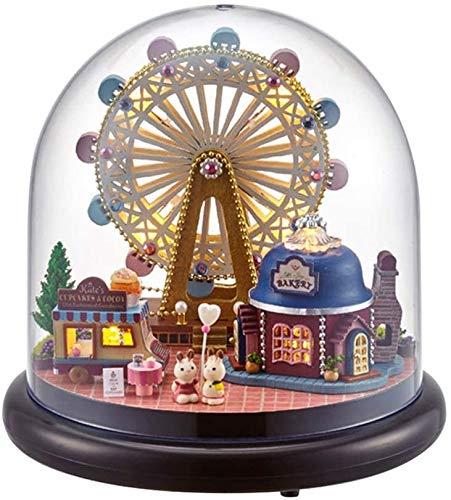 GOOCO DIY Puzzles Holz Miniatur Puppenhaus 3D Kit w/Light-Dome Puppenhäuser Zubehör Puppenhäuser mit Möbeln & LED Jugendliche und Erwachsene