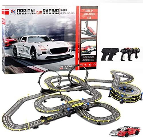 N&G Decoración para el hogar 18.7M Longitud 1:32 Escala Slot Cars Track Racing R/C Juego de Carreras de Autos con Control Remoto de Alta Velocidad con Dos Autos para Carreras Dobles para niños Los me