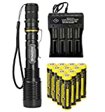 Best 18650 Battery Button Tops - 2000 Lumen 18650 Flashlight Zoomable, 5 Light Modes Review