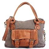 LECONI Henkeltasche Canvas + Echtleder Damentasche Retro-Look Handtasche Damen Vintage Schultertasche für Frauen 38x29x11cm braun grau LE0050-C