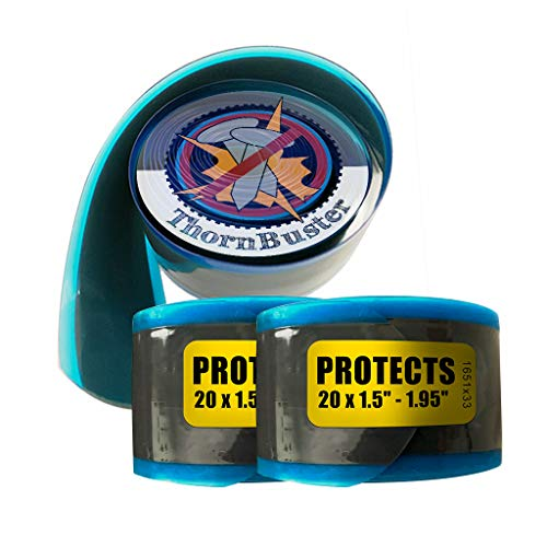 """Thorn Buster, Inner Tube Protecting, Bicycle Tire Liners Pair - Stop Flats for BMX Bikes Using Yellow 20 x 1.5-1.95"""" Bike Tires and Tubes with Hard Durometer Center Strip. (2 Liners)"""