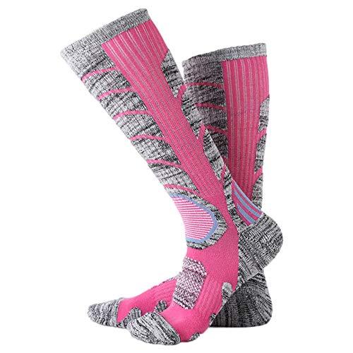 Somerl socken damen strümpfe Langer Ski Dicker Sport Snowboard Klettern Camping Wandern Socken(Hot Pink,Free)