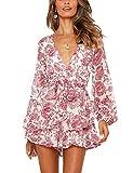 Relipop Women's Dresses Jumpsuit Floral Print V Neck Baggy Sleeve Waist Tie Double Layer Ruffle Hem Short Mini Dress Romper (White, Large)