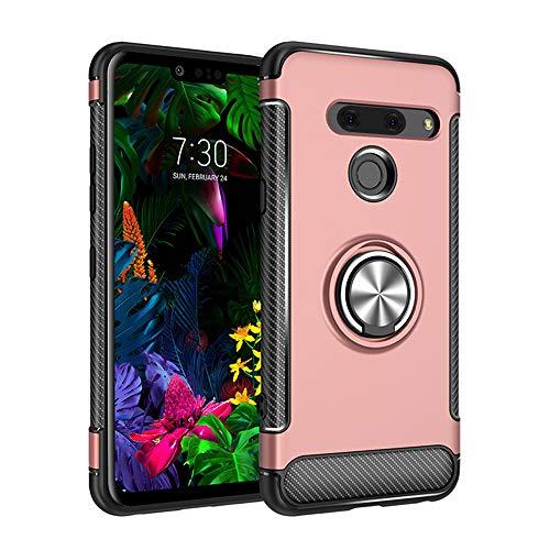 BRAND SET Cover per LG G8 ThinQ,la Perfetta Combinazione di PC e TPU Offre Una Doppia Protezione,Custodia Protettiva con Supporto Girevole a 360 Gradi Adatto per LG G8 ThinQ-Oro Rosa