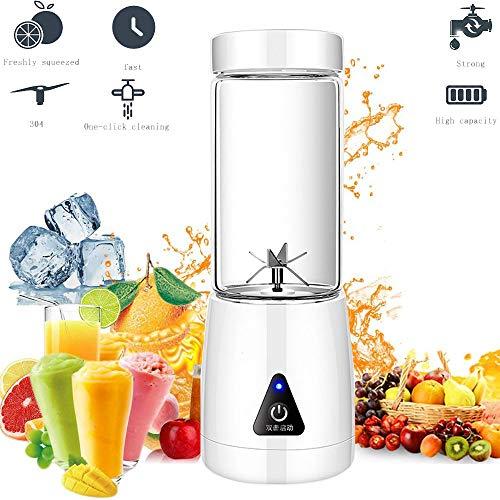 Tragbarer persönlicher Mixer, 380 ml Babykochmaschine mit USB-Ladekabel, Haushaltssaftpresse Fruchtshake-Mixer - Sechs Klingen