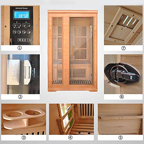 2-Person Far Infrared Hemlock Wood Sauna with 8 Carbon Heaters, Touch Control Panel, Oxygen Ionizer, Recessed Interior Lighting and Built-in Sound System, Tempered Glass Door