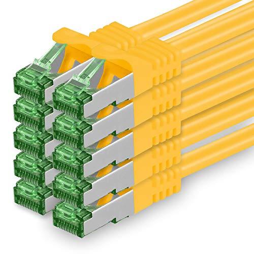 Cat7 Netzwerkkabel 10m - Gelb - 10 Stück - Cat 7 Ethernetkabel Netzwerk LAN Kabel Rohkabel 10 Gigabit s - SFTP PIMF LSZH - Patchkabel Rohkabel mit Rj 45 Stecker Cat.6a